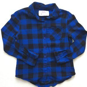 Justice Blue and Black Plaid Button Down Shirt